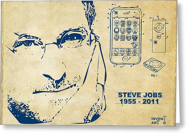 Innovator Greeting Cards - Steve Jobs iPhone Patent Artwork Vintage Greeting Card by Nikki Marie Smith