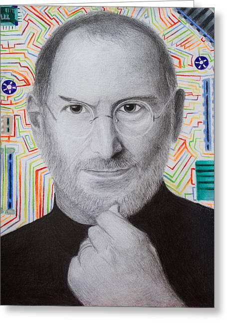 Computer Parts Mixed Media Greeting Cards - Steve Jobs Greeting Card by Maxwell Hanson