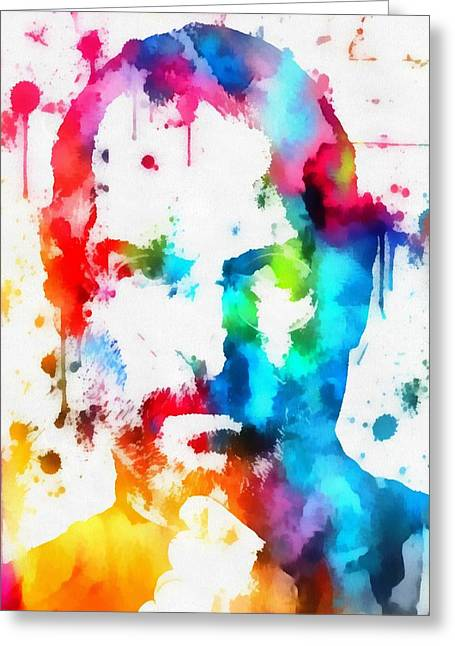 Computer Painted Greeting Cards - Steve Jobs Paint Splatter Greeting Card by Dan Sproul
