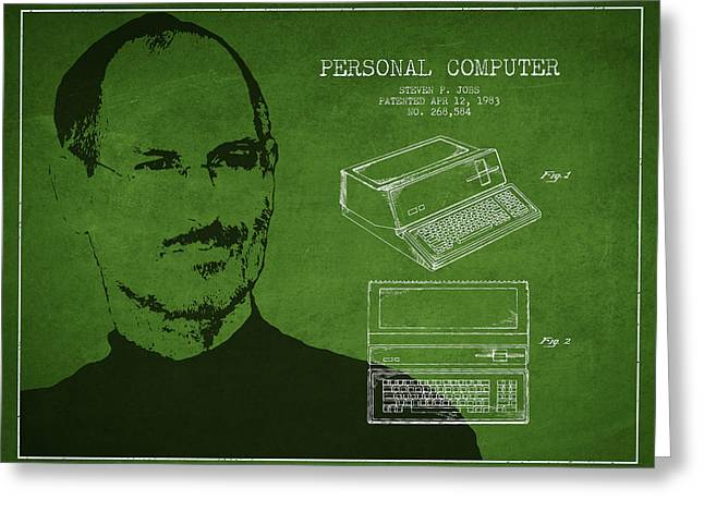 Macintosh Greeting Cards - Steve Jobs Personal Computer Patent - Green Greeting Card by Aged Pixel