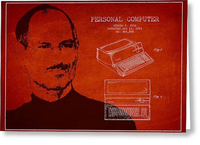 Macintosh Greeting Cards - Steve Jobs Personal Computer Patent - Red Greeting Card by Aged Pixel