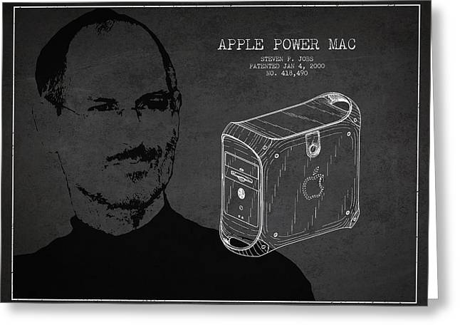 Macintosh Greeting Cards - Steve Jobs Power Mac Patent - Dark Greeting Card by Aged Pixel