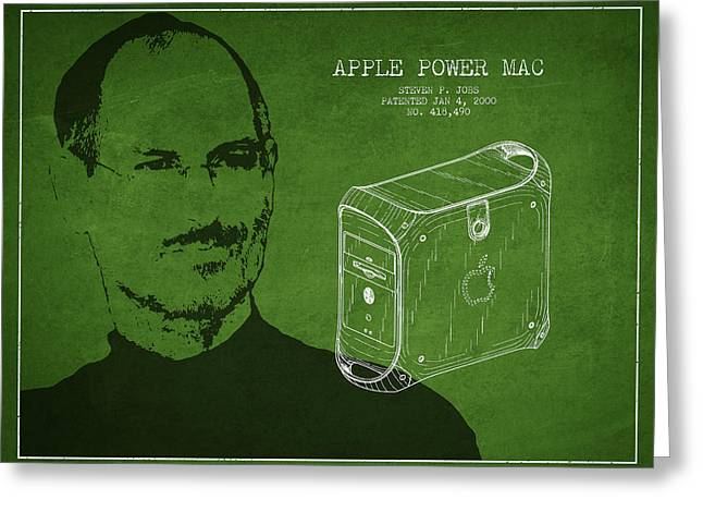 Macintosh Greeting Cards - Steve Jobs Power Mac Patent - Green Greeting Card by Aged Pixel