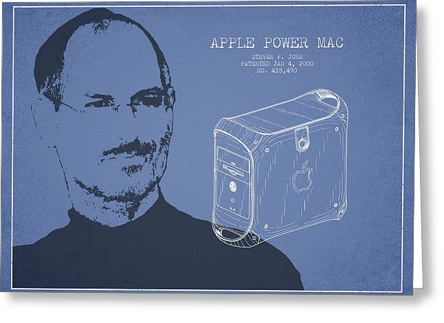 Macintosh Greeting Cards - Steve Jobs Power Mac Patent - Light Blue Greeting Card by Aged Pixel
