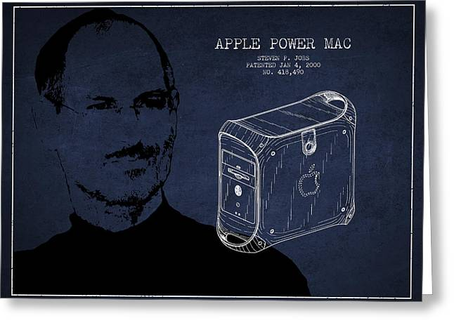 Macintosh Greeting Cards - Steve Jobs Power Mac Patent - Navy Blue Greeting Card by Aged Pixel