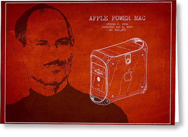 Macintosh Greeting Cards - Steve Jobs Power Mac Patent - Red Greeting Card by Aged Pixel