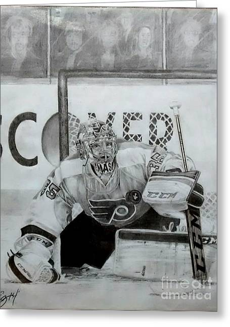 Philadelphia Flyers Drawings Greeting Cards - Steve Mason Greeting Card by Ezra Strayer