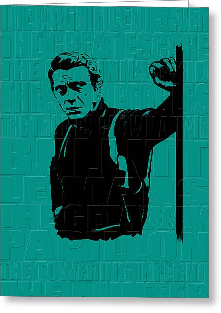 The Great Escape Greeting Cards - Steve McQueen Greeting Card by Andrew Fare