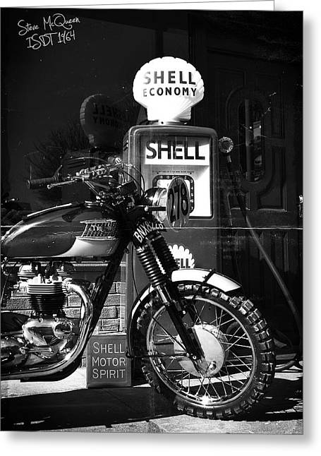 Motorcycles Greeting Cards - Steve McQueen ISDT 64 Greeting Card by Mark Rogan