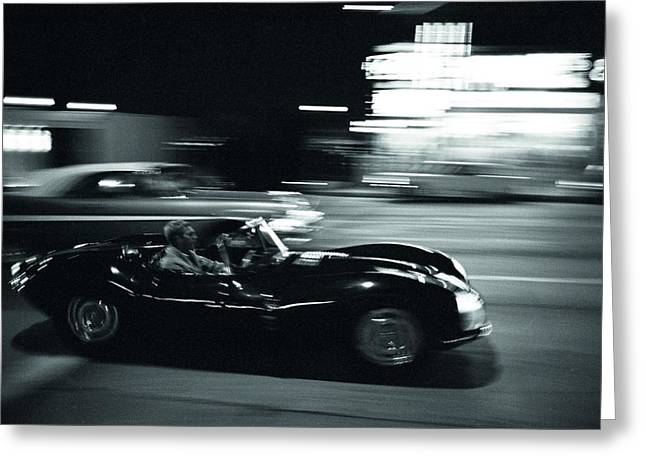 Jaguars Greeting Cards - Steve McQueen Jaguar XK-SS on Sunset Blvd Greeting Card by Nomad Art And  Design