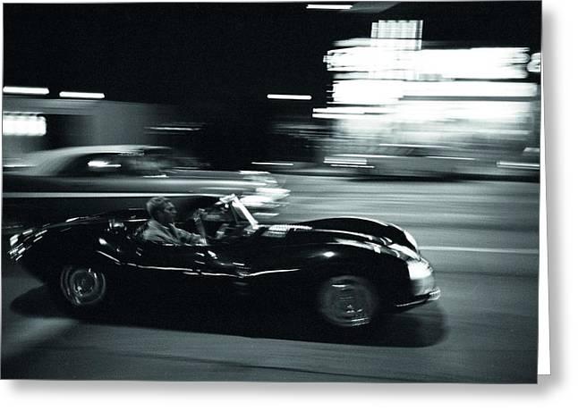 Film Noir Digital Greeting Cards - Steve McQueen Jaguar XK-SS on Sunset Blvd Greeting Card by Nomad Art And  Design