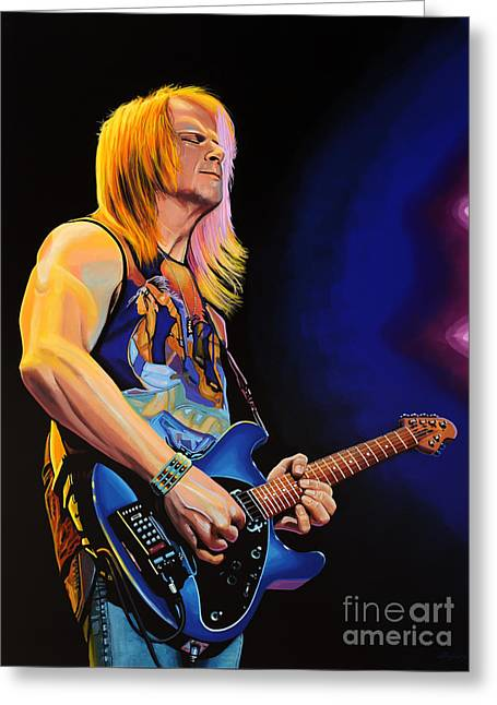Rock Guitar Player Greeting Cards - Steve Morse Greeting Card by Paul Meijering