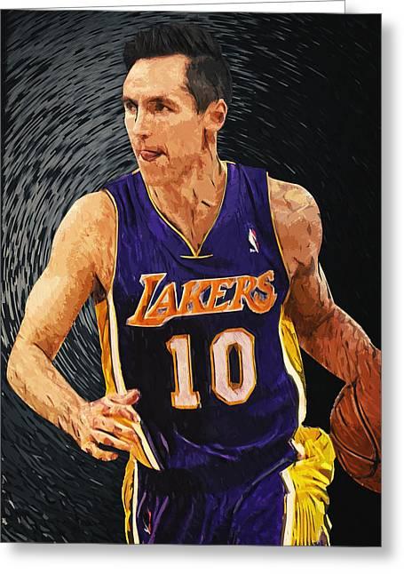 Lakers Digital Art Greeting Cards - Steve Nash Greeting Card by Taylan Soyturk