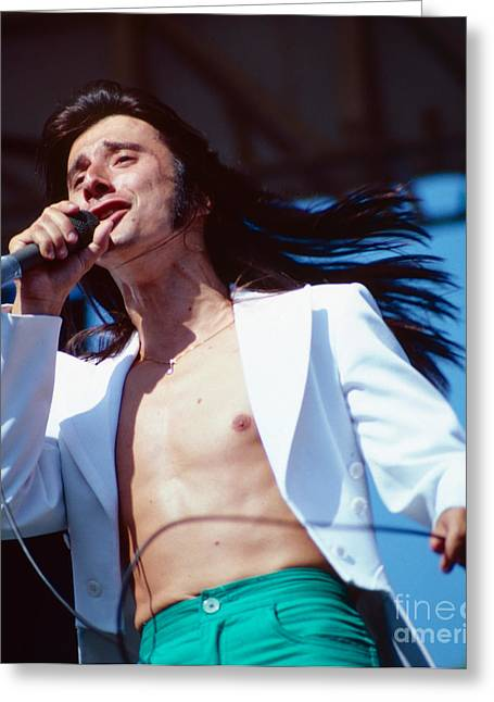 80s Greeting Cards - Steve Perry of Journey at Day on the Green Greeting Card by Daniel Larsen
