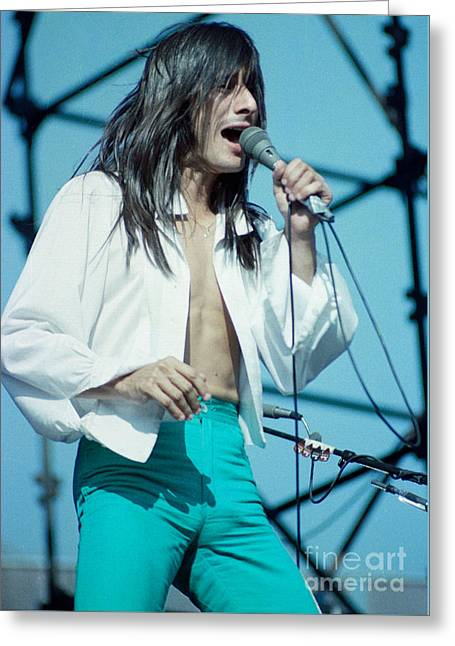 80s Greeting Cards - Steve Perry of Journey at Day on the Green - July 1980 Greeting Card by Daniel Larsen