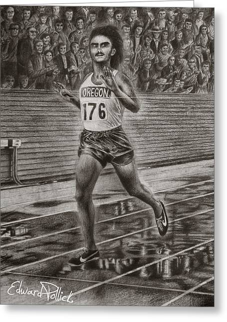 Action Sports Drawings Greeting Cards - Steve Prefontaine Greeting Card by Edward Pollick