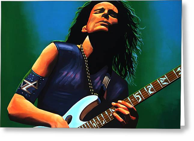 Jimi Hendrix Paintings Greeting Cards - Steve Vai Greeting Card by Paul  Meijering
