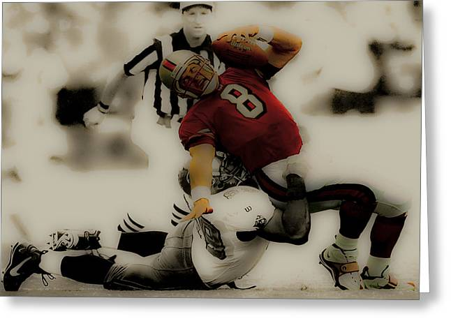 University Of Miami Greeting Cards - Steve Young Going Down Greeting Card by Brian Reaves