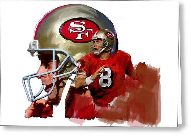 49ers Drawings Greeting Cards - Steve Young   Greeting Card by Iconic Images Art Gallery David Pucciarelli