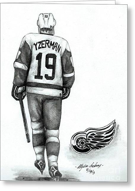 Yzerman Greeting Cards - Steve Yzerman Greeting Card by Allyson Andrewz