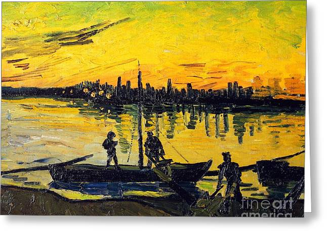 Contemporary Symbolism Greeting Cards - Stevedores in Arles Greeting Card by Vincent van Gogh