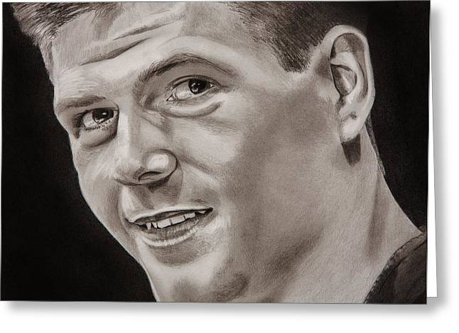 Never Alone Greeting Cards - Steven Gerrard  Greeting Card by Brian Broadway