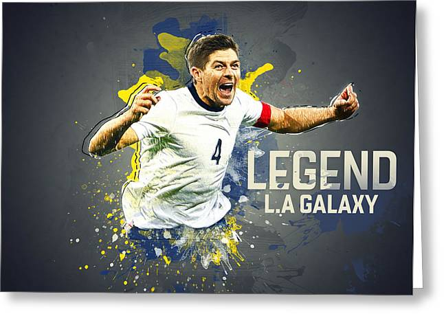 Stadium Design Greeting Cards - Steven Gerrard Greeting Card by Semih Yurdabak