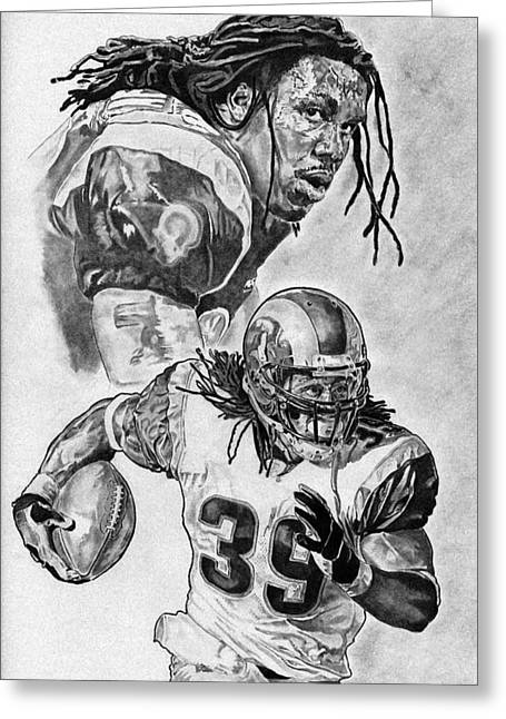 Running Back Drawings Greeting Cards - Steven Jackson Greeting Card by Jonathan Tooley