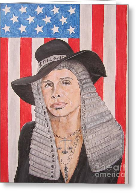 Steven Tyler As A Judge Painting Greeting Card by Jeepee Aero