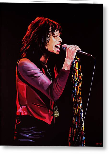 Toys Paintings Greeting Cards - Steven Tyler in Aerosmith Greeting Card by Paul  Meijering