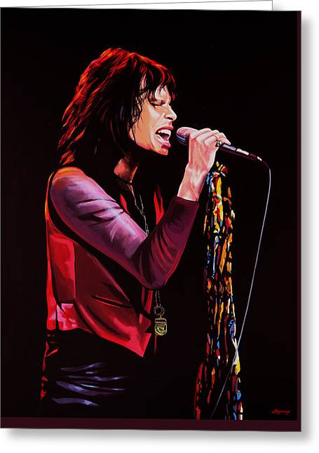 Steven Tyler In Aerosmith Greeting Card by Paul Meijering
