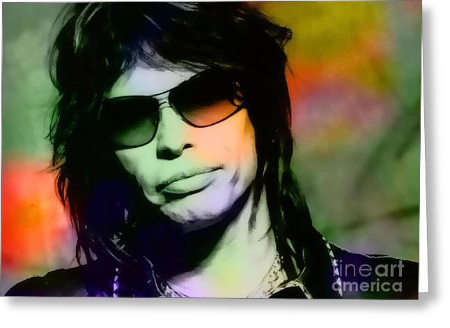 Steven Tyler Greeting Card by Marvin Blaine