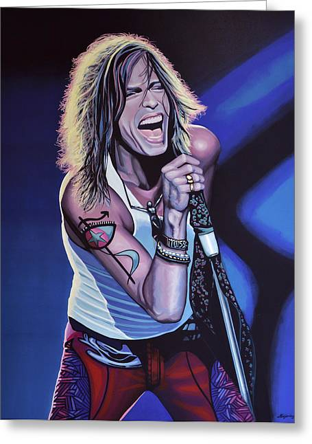 Toys Paintings Greeting Cards - Steven Tyler of Aerosmith Greeting Card by Paul  Meijering