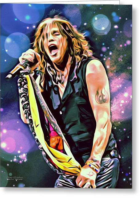 March Greeting Cards - Steven Tyler Portrait Greeting Card by Scott Wallace