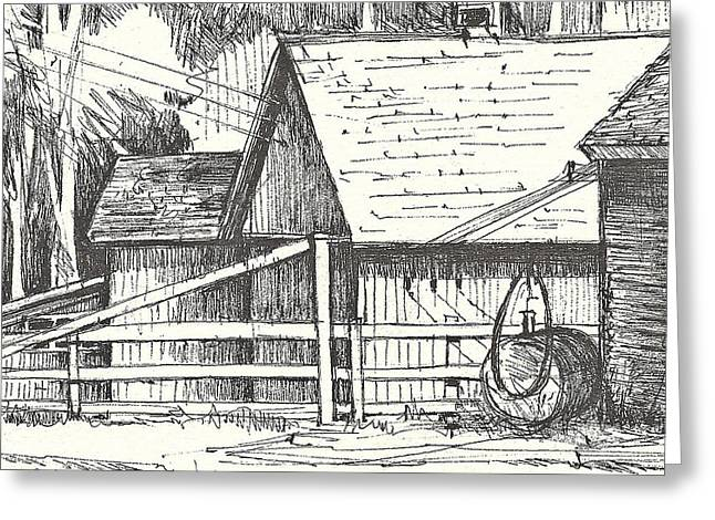 Barn Pen And Ink Greeting Cards - Stevensons Barns Greeting Card by Joan Hartenstein