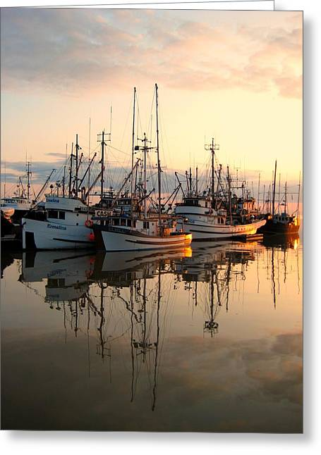Light Taupe Greeting Cards - Steveston Harbour Greeting Card by Shirley Sirois