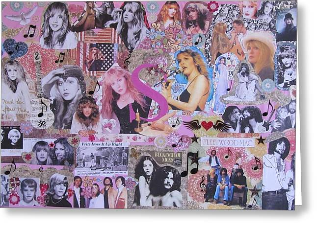 Guitar Pictures Greeting Cards - Stevie Nicks Art Collage Greeting Card by Donna Wilson