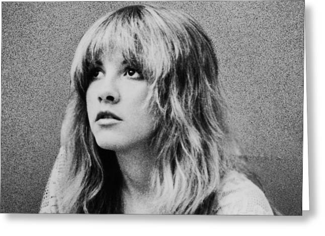 Stevie Nicks Greeting Cards - Stevie Nicks bw Greeting Card by Nomad Art And  Design