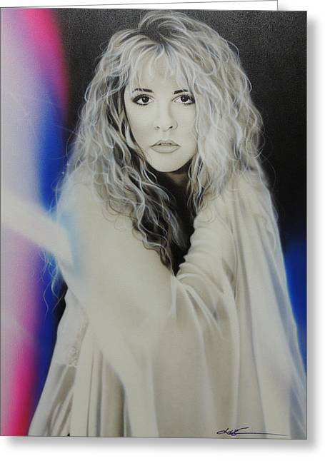 Framed Print Greeting Cards - Stevie Nicks Greeting Card by Christian Chapman Art