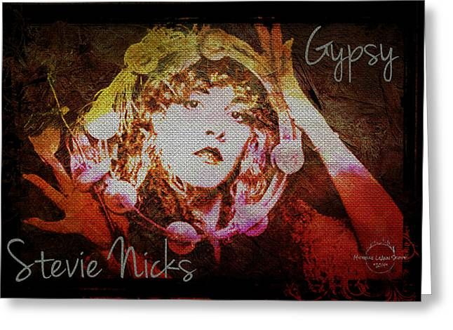 1970s Music Greeting Cards - Stevie Nicks - Gypsy Greeting Card by Absinthe Art By Michelle LeAnn Scott