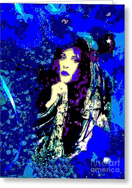 Print On Acrylic Greeting Cards - Stevie Nicks In Blue Greeting Card by Alys Caviness-Gober