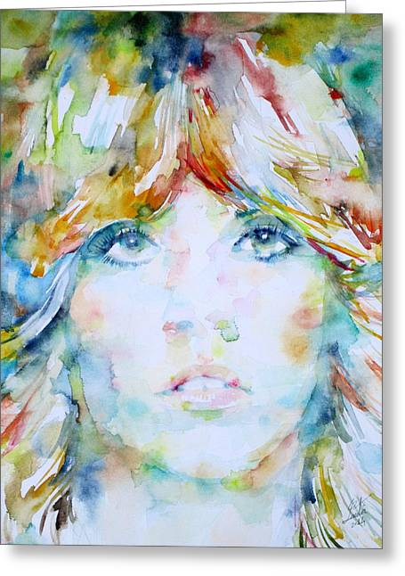 Stevie Nicks Greeting Cards - STEVIE NICKS - watercolor portrait Greeting Card by Fabrizio Cassetta
