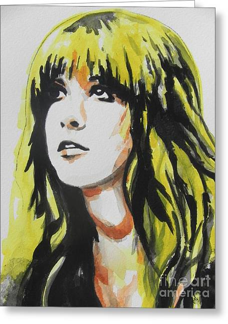 Famous Artist Greeting Cards - Stevie Nicks 01 Greeting Card by Chrisann Ellis