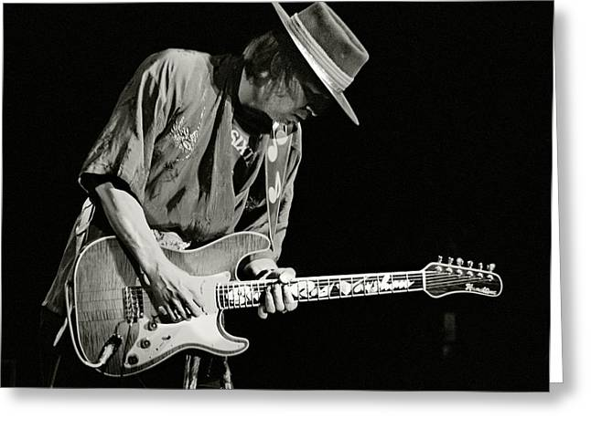 Hat Prints Greeting Cards - Stevie Ray Vaughan 1984 Greeting Card by Chuck Spang