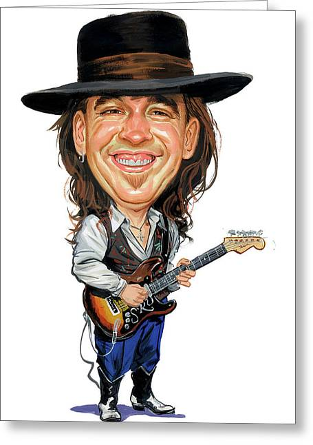 Laughing Greeting Cards - Stevie Ray Vaughan Greeting Card by Art