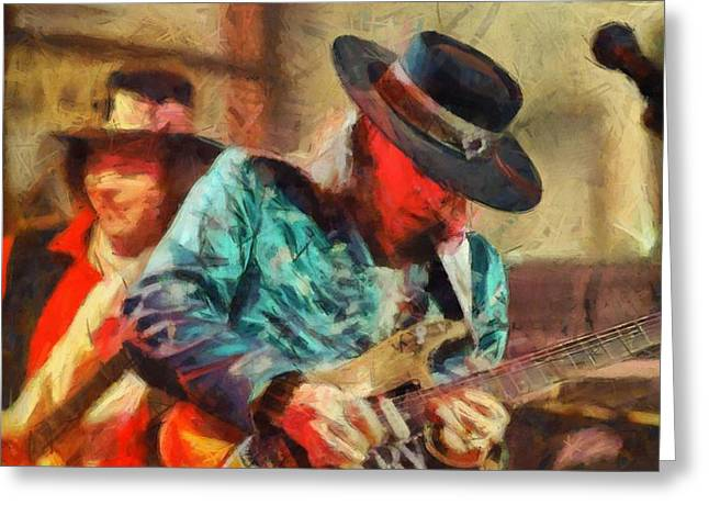 Live Music Mixed Media Greeting Cards - Stevie Ray Vaughan Greeting Card by Dan Sproul