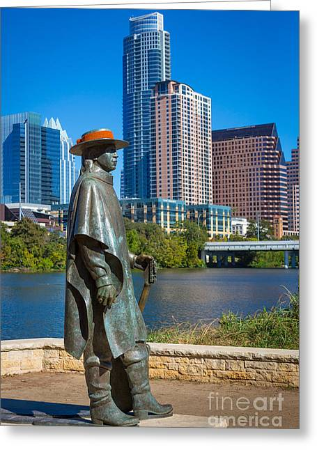 Austin Landmarks Greeting Cards - Stevie Ray Vaughan Greeting Card by Inge Johnsson