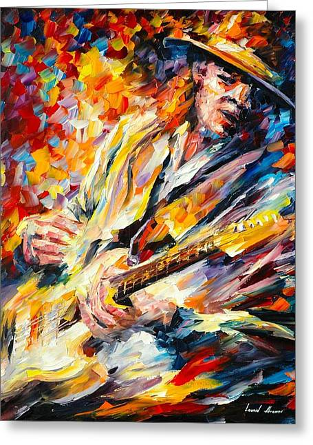 Recently Sold -  - Surreal Landscape Greeting Cards - Stevie Ray Vaughan Greeting Card by Leonid Afremov