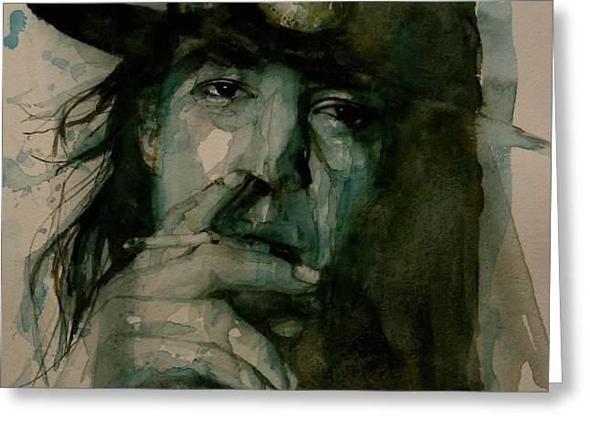 Singer Paintings Greeting Cards - Stevie Ray Vaughan Greeting Card by Paul Lovering