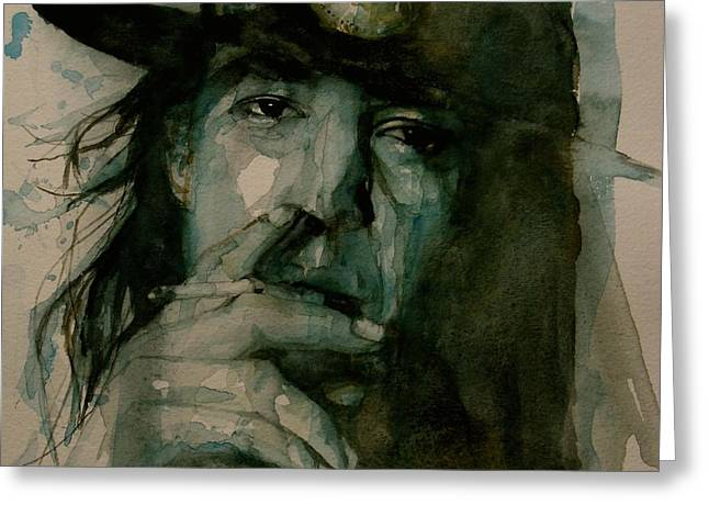 Producer Greeting Cards - Stevie Ray Vaughan Greeting Card by Paul Lovering